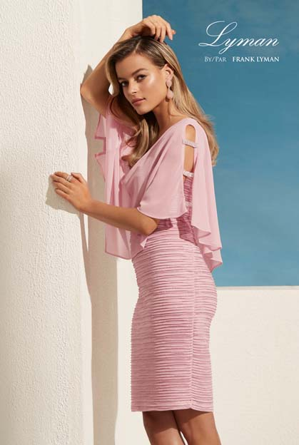 Frank Lyman 208171 pink dress with chiffon top